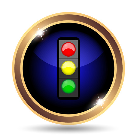 red traffic light: Traffic light icon. Internet button on white background. Stock Photo