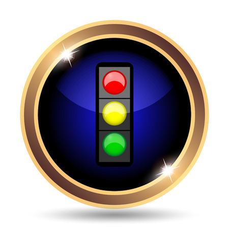 street light: Traffic light icon. Internet button on white background. Stock Photo