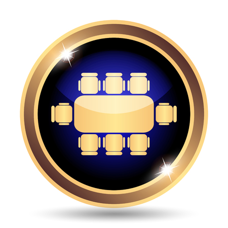 business meeting: Business meeting table icon. Internet button on white background. Stock Photo