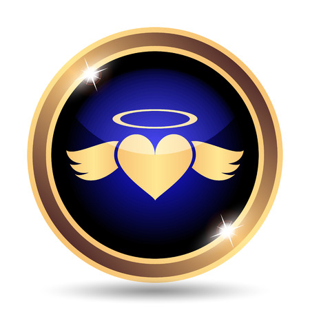 angel white: Heart angel icon. Internet button on white background.