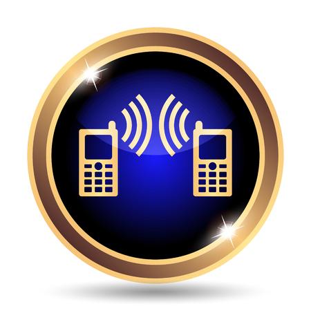palmtop: Communication icon. Internet button on white background. Stock Photo