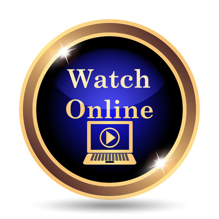 gold record: Watch online icon. Internet button on white background. Stock Photo