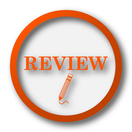 review icon: Review icon. Internet button on white background.