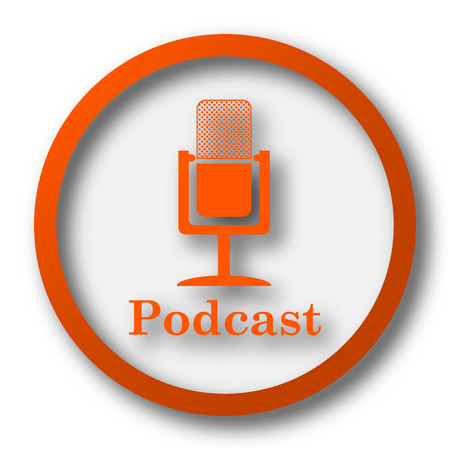 podcast: Podcast icon. Internet button on white background.