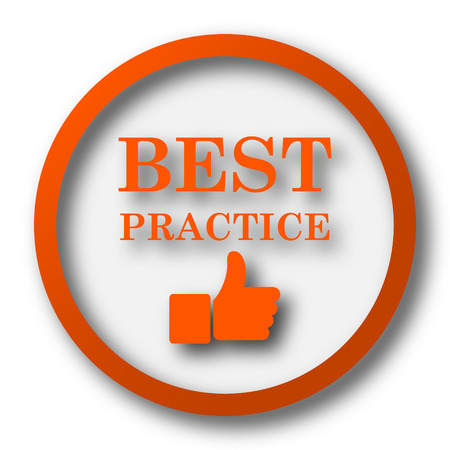 practice: Best practice icon. Internet button on white background. Stock Photo
