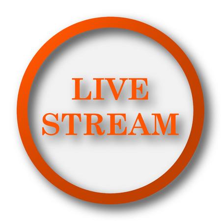 live stream icon: Live stream icon. Internet button on white background. Stock Photo