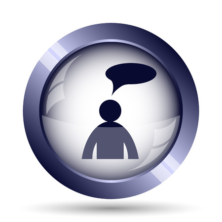 comments: Comments - man with bubble icon. Internet button on white background. Stock Photo