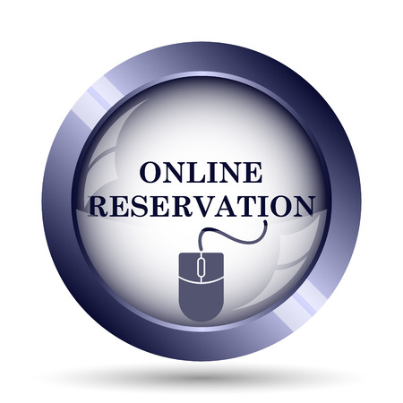 e ticket: Online reservation icon. Internet button on white background.