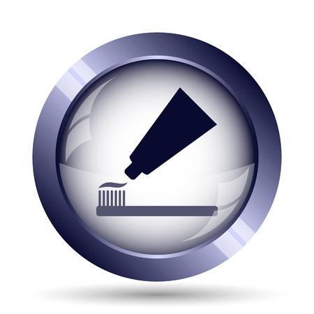 anti bacterial: Tooth paste and brush icon. Internet button on white background.