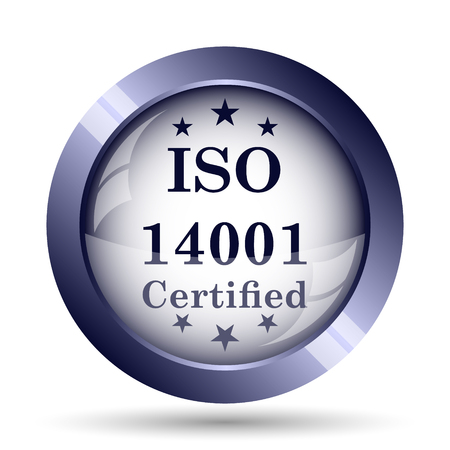 certify: ISO14001 icon. Internet button on white background.