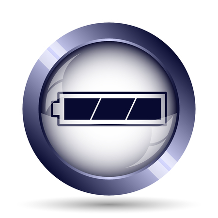 button batteries: Fully charged battery icon. Internet button on white background.