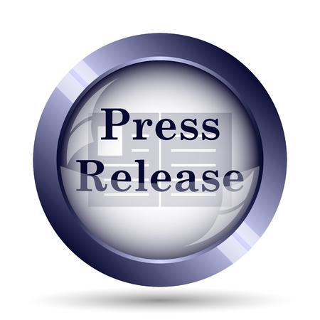 release: Press release icon. Internet button on white background. Stock Photo