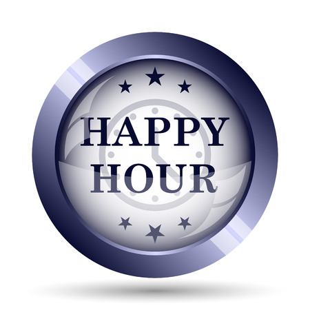 happy hour: Happy hour icon. Internet button on white background.