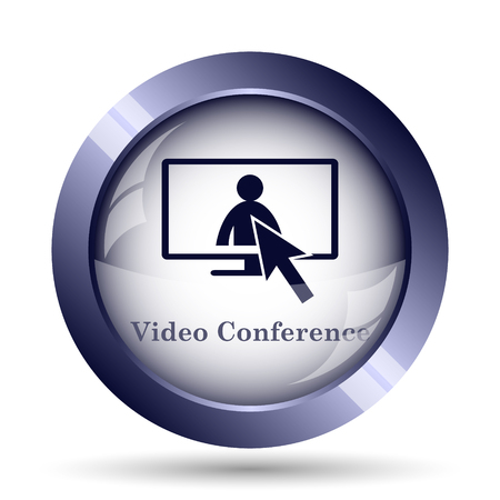 on duty: Video conference, online meeting icon. Internet button on white background. Stock Photo