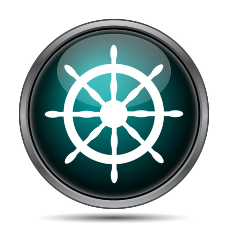 piloting: Nautical wheel icon. Internet button on white background.