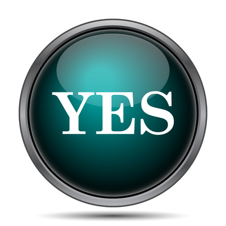 Yes icon. Internet button on white background.