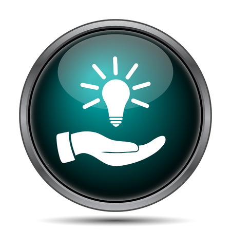 lightbulb idea: Hand holding lightbulb. Idea icon. Internet button on white background.