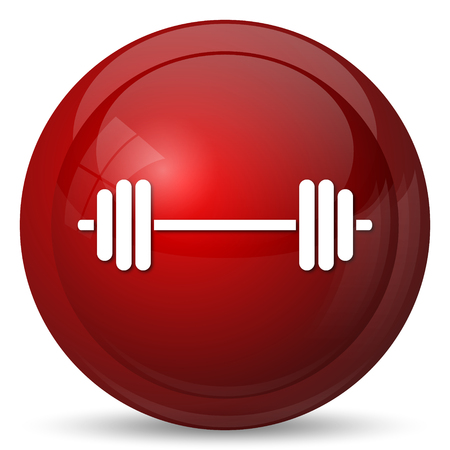 weightlifting: Weightlifting icon. Internet button on white background.