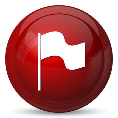 Icono de la bandera. Botón de internet sobre fondo blanco. Foto de archivo