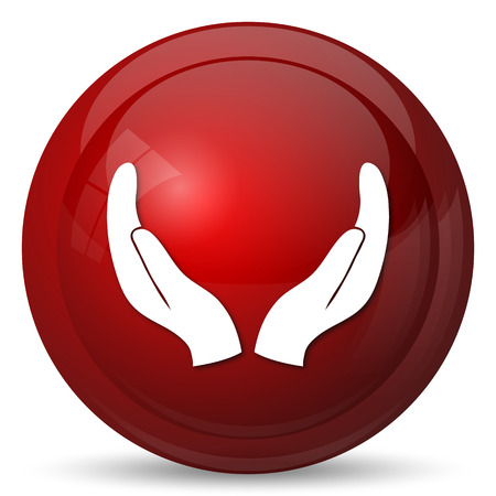 protecting: Protecting hands icon. Internet button on white background. Stock Photo