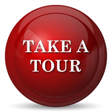 take action: Take a tour icon. Internet button on white background.