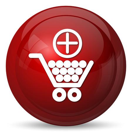 e market: Add to shopping cart icon. Internet button on white background.