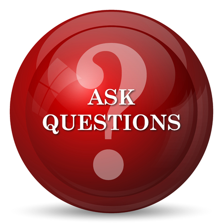 qa: Ask questions icon. Internet button on white background.