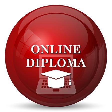 diploma: icono de diploma en línea. botón de internet sobre fondo blanco.