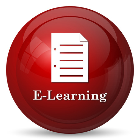 elearning: E-learning icon. Internet button on white background.