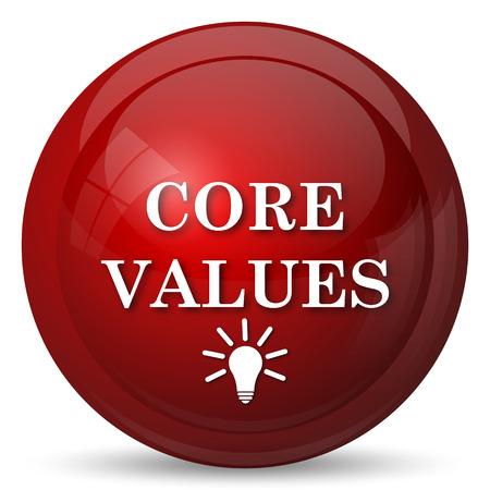 value: Core values icon. Internet button on white background.