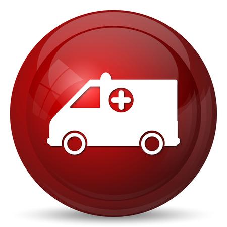 ambulancia: Icono de Ambulancia. Bot�n de internet sobre fondo blanco.
