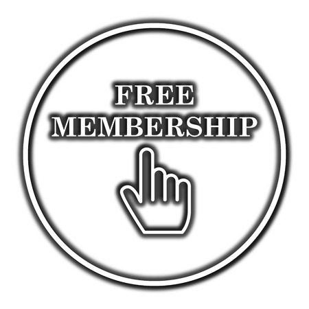 membership: Free membership icon. Internet button on white background. Stock Photo