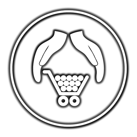 protection icon: Consumer protection, protecting hands icon. Internet button on white background.