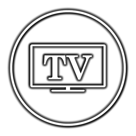 old fashioned tv: TV icon. Internet button on white background. Stock Photo