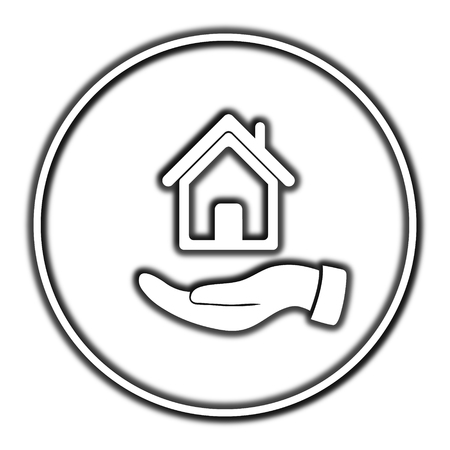 hand holding house: Hand holding house icon. Internet button on white background. Stock Photo