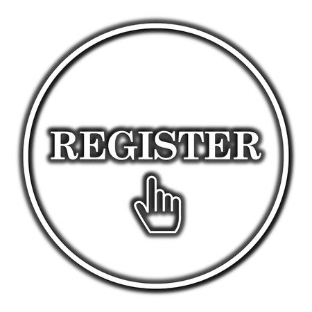 Registrar icono. Botón de internet sobre fondo blanco.