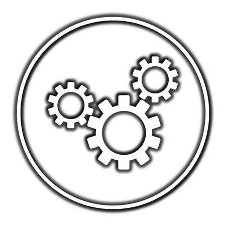 gearing: Settings icon. Internet button on white background. Stock Photo