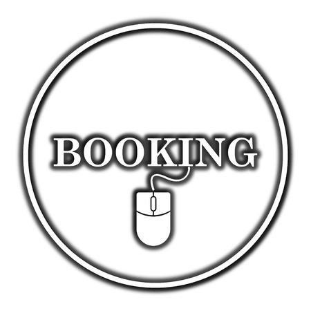 e ticket: Booking icon. Internet button on white background. Stock Photo