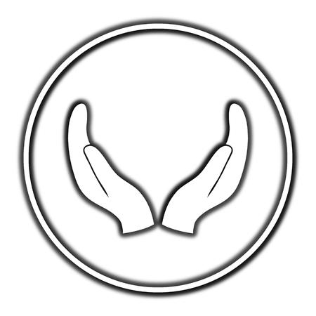Proteggere le mani icona. internet pulsante su sfondo bianco.