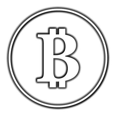 p2p: Bitcoin icon. Internet button on white background.