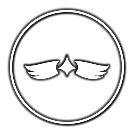migrating: Wings icon. Internet button on white background. Stock Photo
