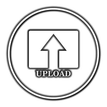 moving site: Upload icon. Internet button on white background. Stock Photo