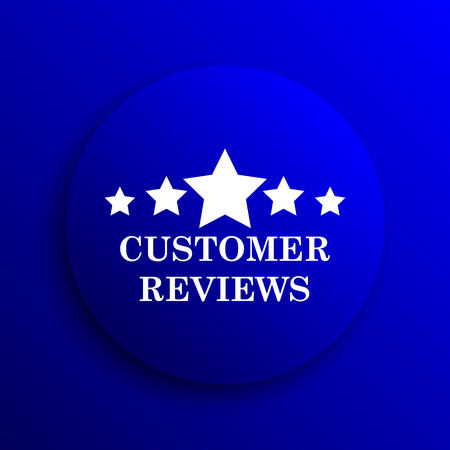 reviews: Customer reviews icon. Internet button on blue background.