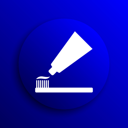 toothbrushing: Tooth paste and brush icon. Internet button on blue background. Stock Photo