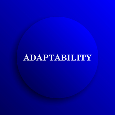 adapting: Adaptability icon. Internet button on blue background.