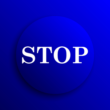 running off: Stop icon. Internet button on blue background. Stock Photo
