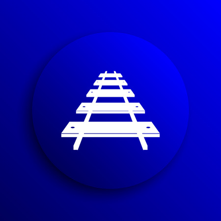 rail: Rail road icon. Internet button on blue background.