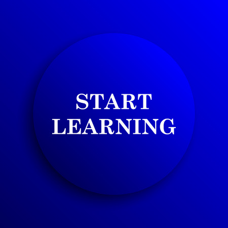 connexion: Start learn icon. Internet button on blue background.
