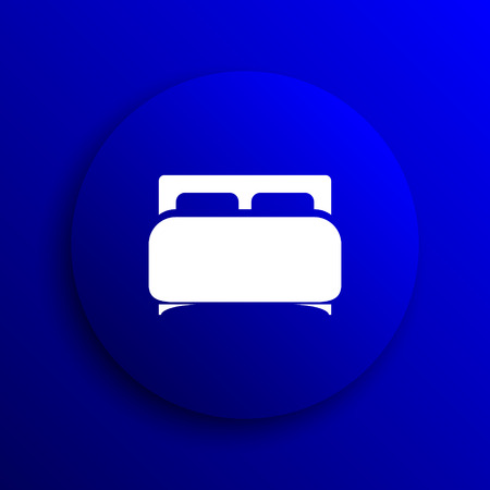 double bed: Double bed icon. Internet button on blue background.