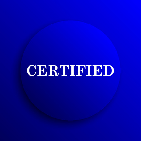 endorsed: Certified icon. Internet button on blue background.